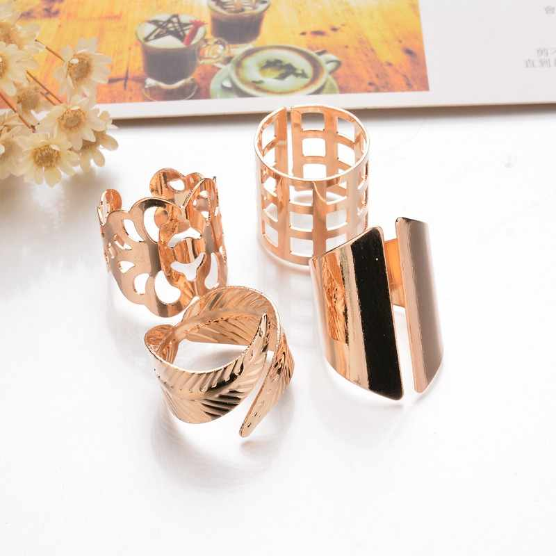 Terreau Kathy 4 pcs/sets Punk Gold Color Leaves Big Size Knuckle Ring Set 2017 New Arrival Hollow Flowers Rings For Women Gift