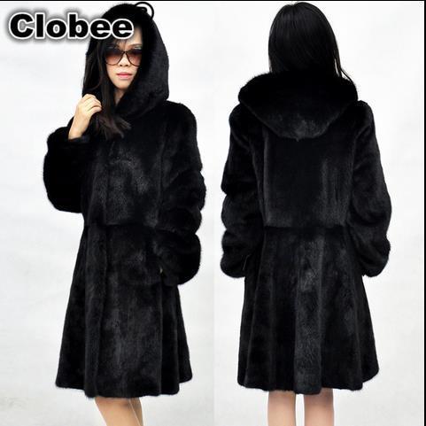 093a8d9baeb plus size women faux fur coat 2018 Women warm Winter Hooded Fake Fur Coats  Vintage elegant Artificial Black long coats WR596-in Faux Fur from Women s  ...