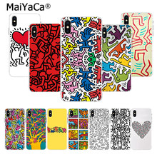 MaiYaCa en vender teléfono casos arte Simple Keith Haring arte funda para iphone 11 pro X 66S 7 7plus 8 8Plus 5S SE XS XR XS.(China)