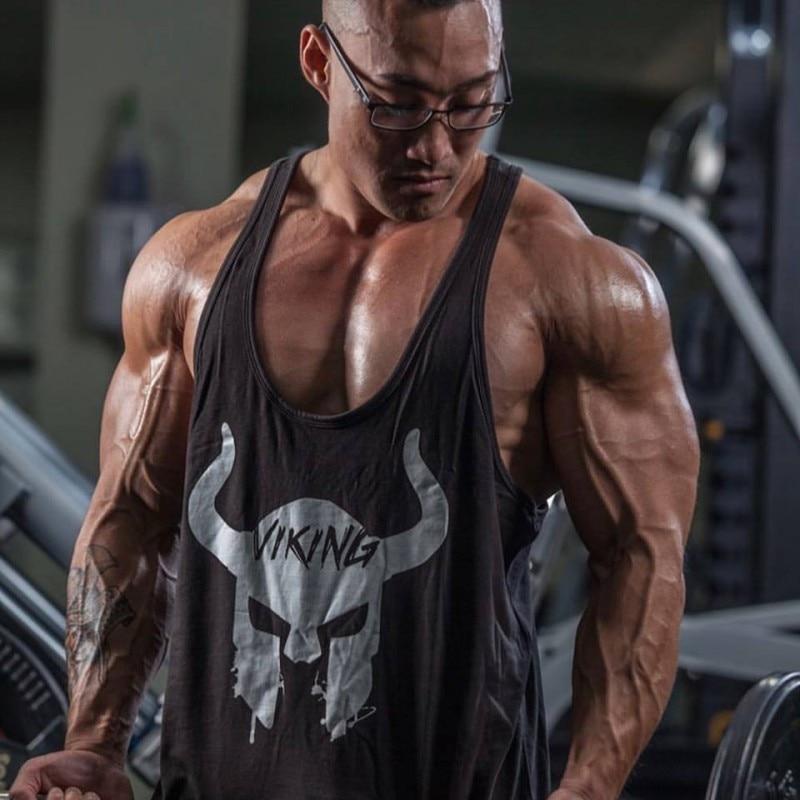 New 2019 Brand clothing Bodybuilding Fitness   Tank     Top   Men workout VIKING print Vest Stringer wear Undershirt