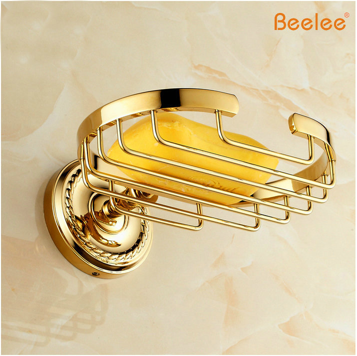 Beelee BA6109G Free Shipping Crystal & Brass Gold Bathroom Accessories Soap Dishes / Soap Holder/Soap Case free shipping carving antique finish brass soap basket carved soap dish soap holder bathroom accessories toilet vanity