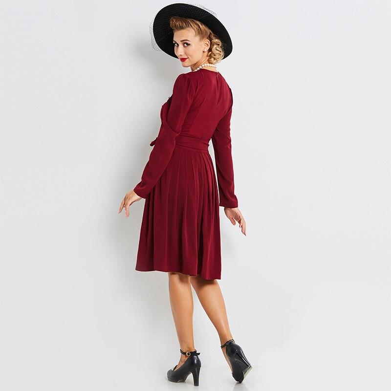 Vogue S Mélanges Ceintures Manches Rétro Longues Genou Longueur Femmes Coton Robes Fushia À Parti Robe Belles De 1841 Pull Automne Fc1lJ3uTK