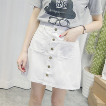 Girls Single-breasted Button Empire Fashion Solid Jeans Skirts Female New 2018 Summer A-Line Denim Mini Casual Skirt shein girls black solid button up belted casual girls skirts kids clothing 2019 spring fashion a line preppy long flared skirts