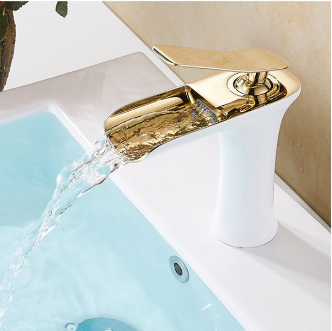 Free shipping Chrome & white color Waterfall Faucet Brass Bathroom Faucet Bathroom Basin Faucet Mixer Tap Hot & Cold Sink faucet free shipping polished chrome solid brass material bathroom sink waterfall square faucet