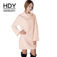HDY Haoduoyi Brand 2017 Winter New In Solid White Pink Sweet Women Mini Dress Turtleneck Casual