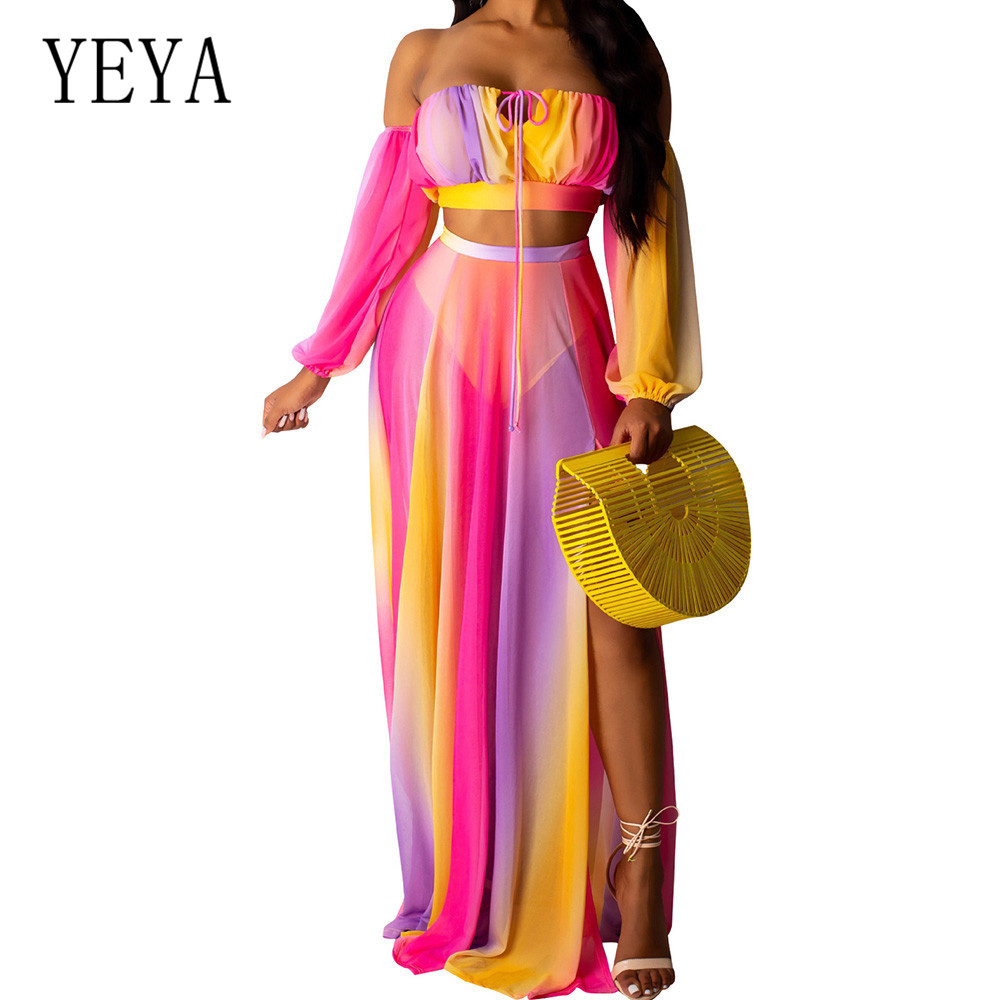 YEYA Two Pieces Sets Off Shoulder Long Sleeve Print Mesh Party Dress Women Elegant Strapless See Through Maxi Summer Boho Wear