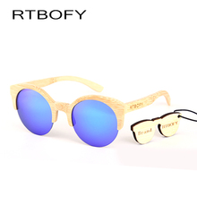 RTBOFY Bamboo glasses fashionable sunglasses women Semi-Rimless design handmade,lens optical properties polarized UV400