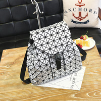 Yousijia Women BaoBao Drawstring Backpack Diamond Lattice Geometry Quilted Ladies Backpack Sac Bag For Girl Bao