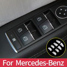 цена на For Mercedes Benz A B CLA GLA Class W176 W246 C117 X156 Door Lift Button Stickers ABS Chrome Trim Cover Accessories Car Styling