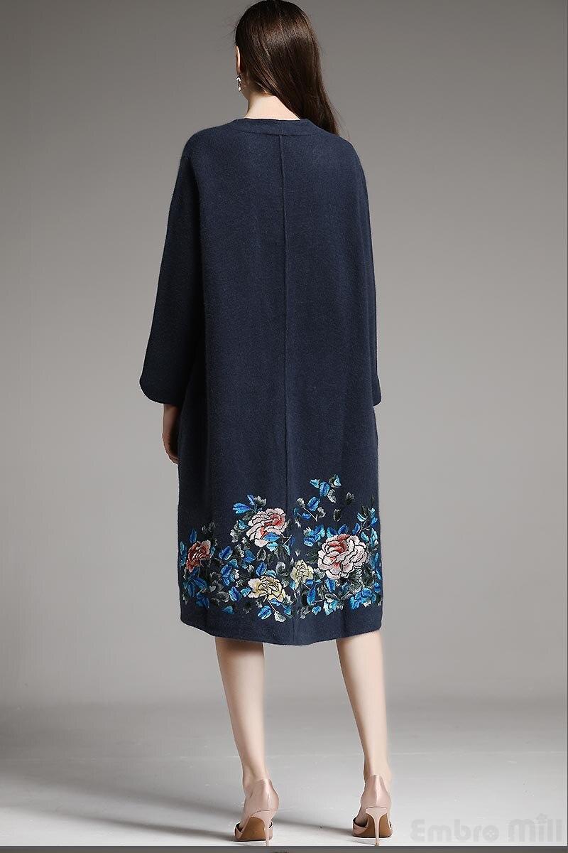 Élégant D'hiver Broderie Royal Noir xxl Tranchée Manteau Kint Nouvelle Chinois Femelle Pardessus Laine Style Femmes Vêtements Lâche bleu M Dames 5zqwU7