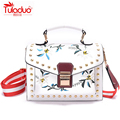 TULADUO 2017 Spring Fashion Women Shoulder Bags Small Embroidery Women Crossbody Bags Luxury Floral Ladies Leather Messenger Bag