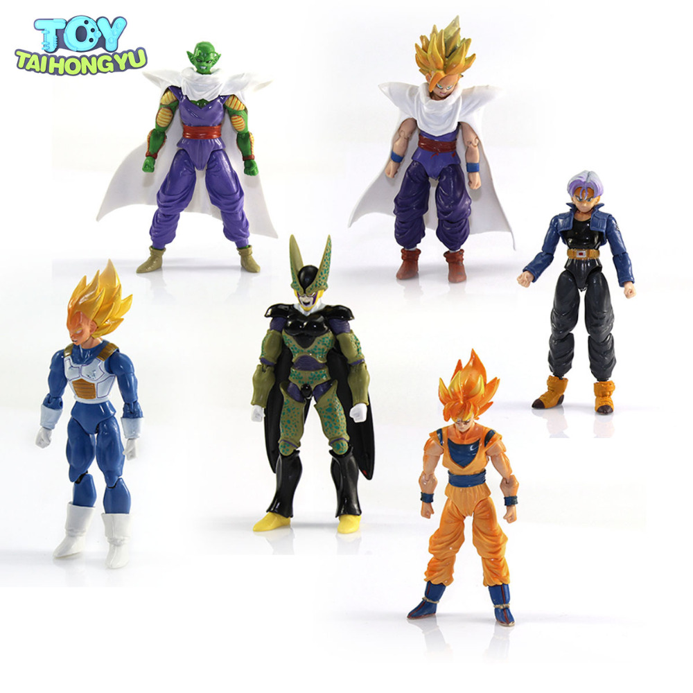 6pcs Lot Toy Anime Dragon Ball Z Doll Action Figure Goku Piccolo DBZ Vegeta Gohan Super Saiyan Joint Movable 12-15cm high quality classic toy super movable wrestler occupation wrestling fighter action figure mask toys doll accessories