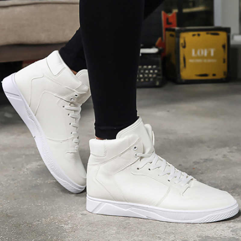 Men's shoes white brand sneakers for student high shoes sewing wear-resistant men vulcanize shoes 2019 spring/autumn