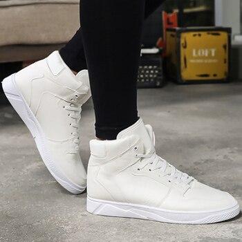 d79b6e3efa6c3 Erkek ayakkabıları beyaz marka sneakers için öğrenci yüksek ayakkabı dikiş  aşınmaya dayanıklı erkekler vulkanize ayakkabı 2019 İlkbahar/sonbahar