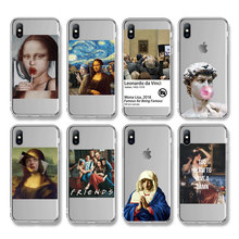 Ottwn funda de teléfono con pinturas artísticas para iPhone, funda de TPU suave y transparente con letras abstractas para iPhone 11X7 8 6 6S Plus XR XS 11 Pro Max 5 5s SE