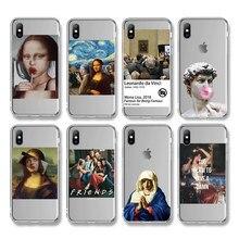 Ottwn おかしいアート絵画電話ケース iphone 11 × 7 8 6 6 s プラス xr xs 11 プロ最大 5 5s 、 se 抽象手紙クリアソフト tpu カバー