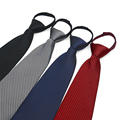 Hot Sale Zipper Tie Easy To Pull Men's Commercial Formal Suit  Lazy Necktie Striped Male  Wedding Narrow cravate S4837