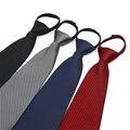 Venta caliente de La Cremallera Corbata Fácil Tirar Perezoso Traje de Corbata A Rayas Masculina Comercial de Los Hombres Formales Boda Estrecho cravate S4837