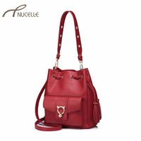 NUCELLE Women's Leather Shoulder Bags Ladies Fashion Tassel Cat Ears Bucket Messenger Bags Female Leisure String Crossbody Bags