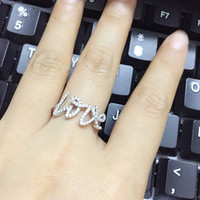 ZOZIRI brand alphabet letter zircon LOVE ring for female,925 sterling silver party jewelry famous brand replica jewelry