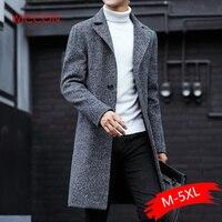 New Men Long Trench Coat Men Fashion Wool Trench Coat Windbreaker Steampunk Men Overcoat Casual Outerwear Coats
