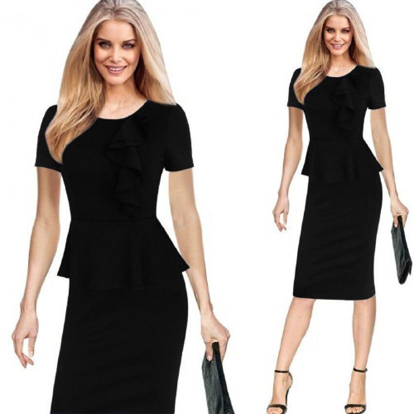 Ruffles Pencil Dress Everyday Dresses Office Work Dress Vestido Oficina De  Trabajo Vestido Na Altura Do 3243cbc693db