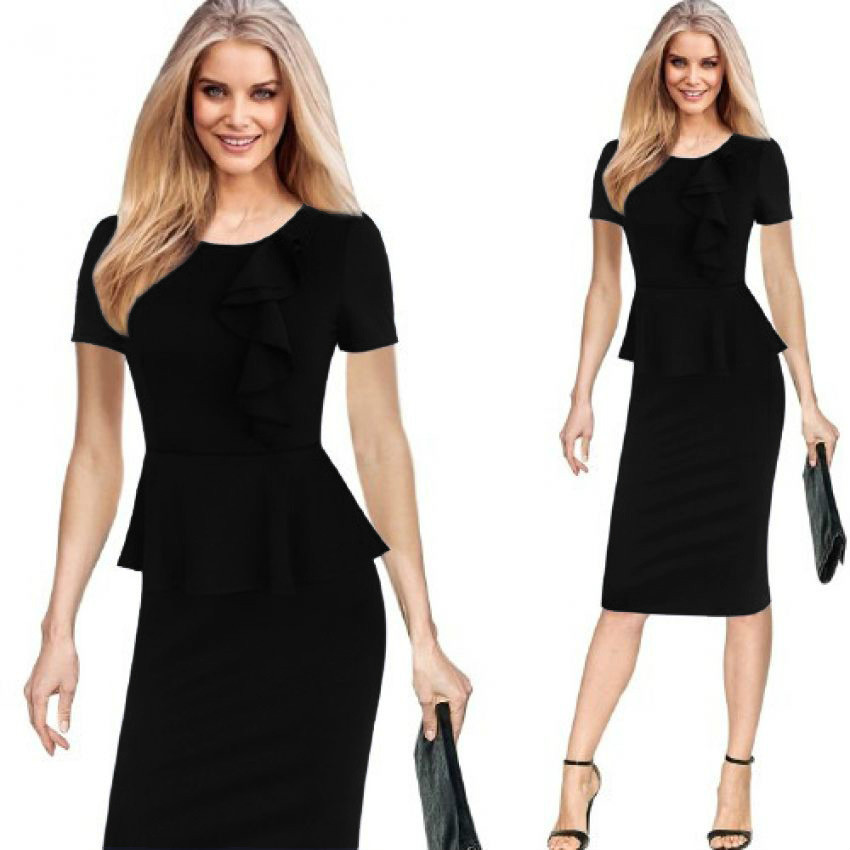 Ruffles Pencil Dress Everyday Dresses Office Work Dress Vestido Oficina De Trabajo Vestido Na Altura Do Joelho Knee Length Dress