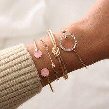 Simple circle of female personality and arrow rhinestone fringe map  bracelets for girl temperament geometric bracelet