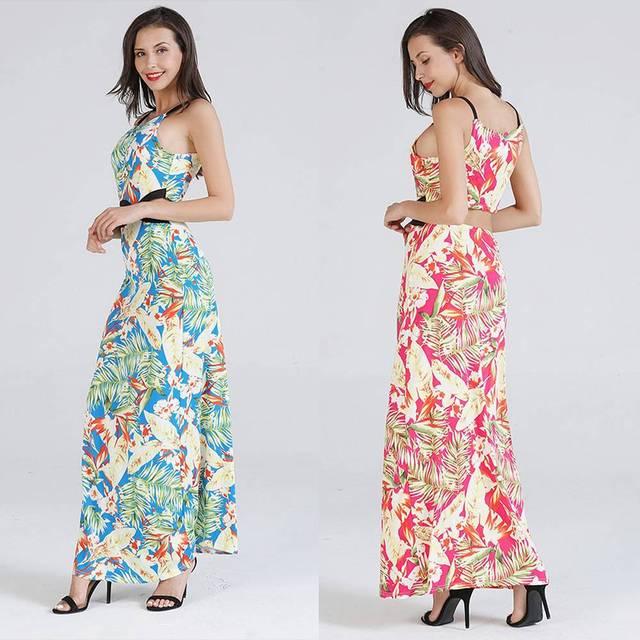 5d15708ce75b 2019 Summer Lady Women's Maxi Long Dress Hawaiian Tropical Leaves Floral  Print Off Shoulder Hollow Out Beach Chic Slip Dresses