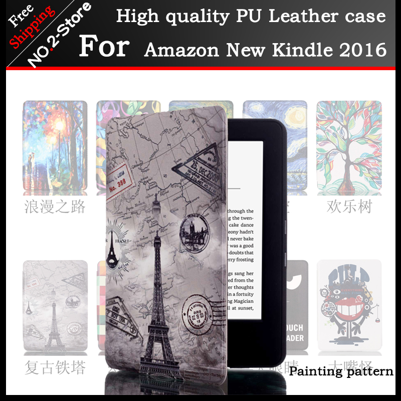 Slim Magnetic Flip PU Case Cover for Amazon New kindle 2016 8th generation ebook, Painting Skin Case for Amazon New kindle 2016  slim fit folio flip pu leather case cover skin back case for amazon all new kindle 6 display 8th gen 2016 release