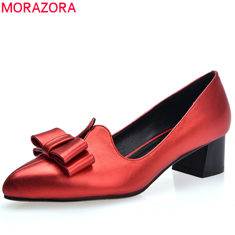 MORAZORA 2018 spring summer pumps women shoes med heels pointed toe genuine leather with butterfly knot shallow woman shoes fashion new spring summer med high heels good quality pointed toe women lady flock leather solid simple sexy casual pumps shoes