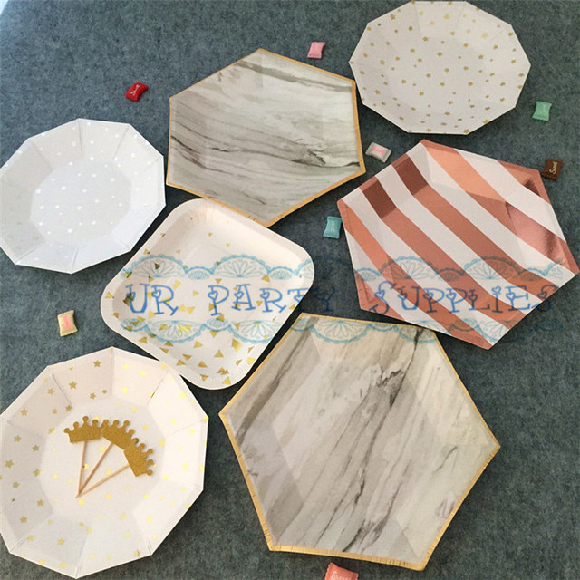 Free Ship 480pcs Gold Foil Hexagon Paper Plates Afternoon Tea Party Dishes Fruit Tray Boy Girl : modern paper plates - pezcame.com