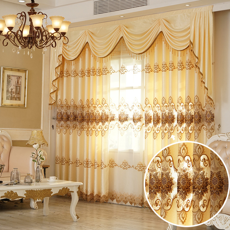 Curtains For Living Dining Room Bedroom New European Style Water Soluble Embroidery Curtain Tulle Valance For Windows Drapes