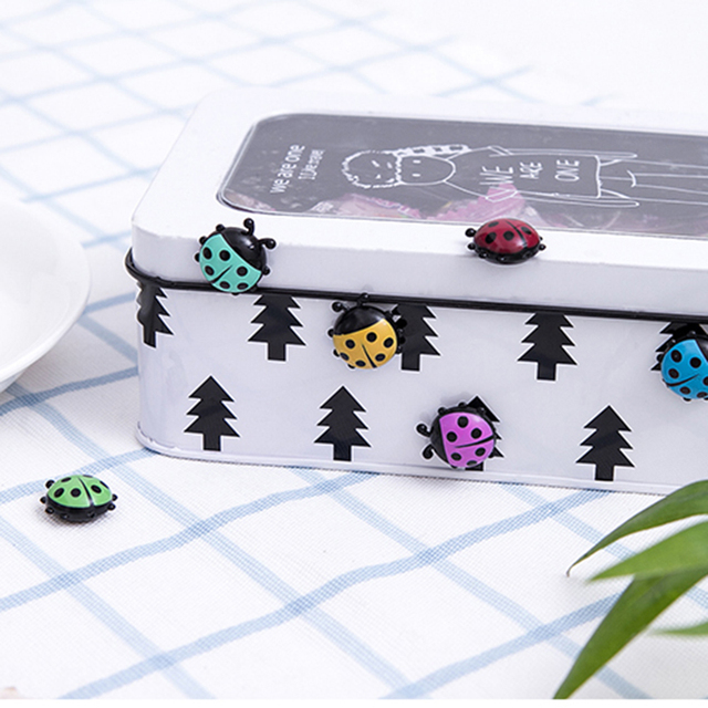 6Pcs Lovely Ladybug fridge magnets home decor decorative refrigerator Magnetic sticker Room Decoration Message paper Fixed paste 3