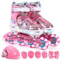 Рисунок «Hello Kitty» полный Светящиеся роликовые колеса Ботинки конька с защитным костюм для детей для девочек и мальчиков отрегулировать Обув