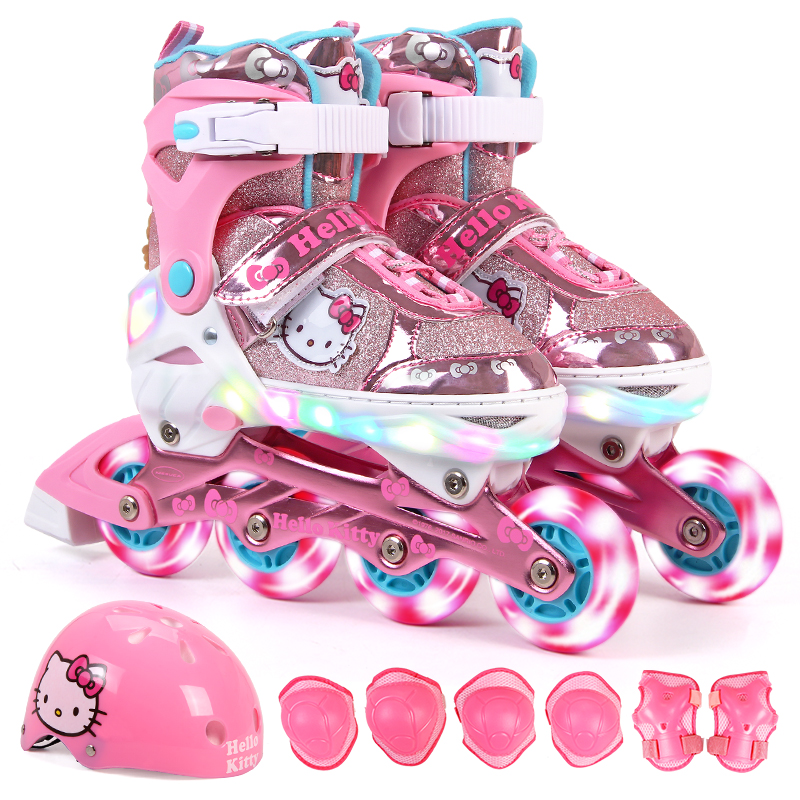 Hello Kitty Full Flashing Roller Skate Shoes with Protective Suit For Kids Girl Boy Adjust Shoes Daily Street Brush Skating slalom recommend adult inline skate shoes for young man girl daily street brush skating roller skates for seba cityrun fsk