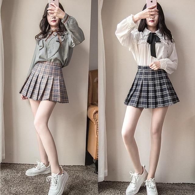 Plus Size Short New Korean Plaid Zipper High Waist School Girl Pleated Plaid Skirt 1