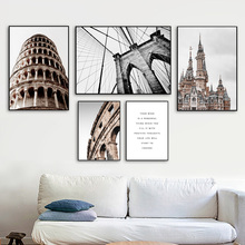 Rome Colosseum Italy Tower Bridge Building Nordic Posters And Prints Wall Art Canvas Painting Picture For Living Room Decor