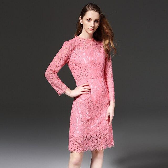 2019 women sweet A-line lace dress pink color plus size European design elegant women floral lace party dress big size
