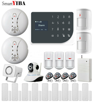 SmartYIBA Touch Panel WIFI GSM Home Security Alarm System APP Remote Control Smart Socket Video IP