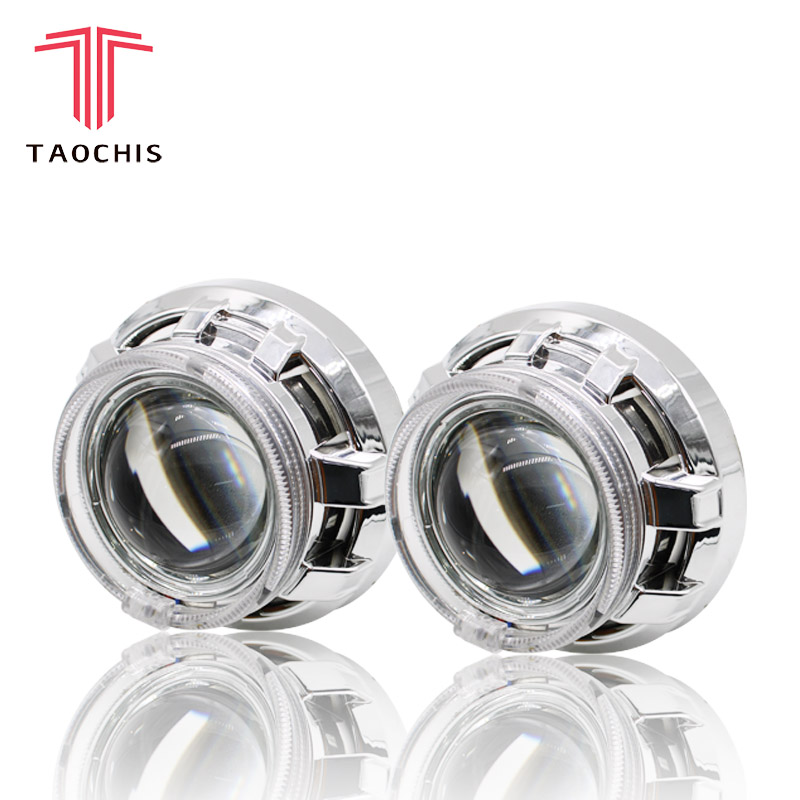 TAOCHIS APP LED Angel Devil Eyes Bi xenon Lens Projector Headlight For Car Retrofit DIY W/ Daytime Running Lights 3.0'' H4
