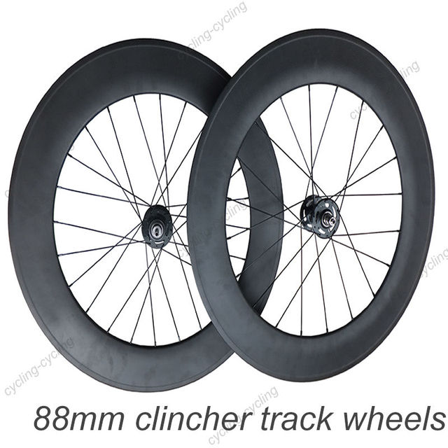 88mm clincher carbon track bicycle wheelset track hub Novatec A165SB/A166SB carbon Fixie bike wheelset