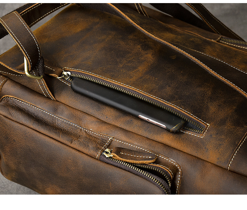 Back pocket of the hore luxury leather backpack