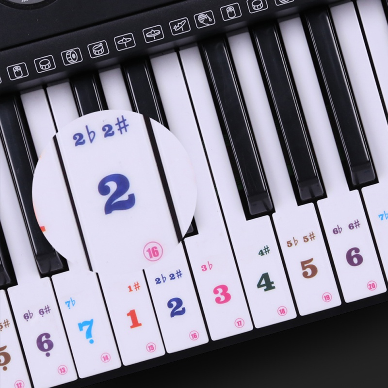 US $1 64 10% OFF|Piano Sticker 49/61 Key Transparent Piano Keyboard Sticker  Electronic Keyboard 88 Key Piano Stave Note Sticker For Piano Keys 8-in