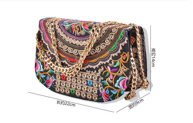 3a6b1f6e02d2 New National Women carrybags nice embroidered embroidery  Shoulder cross-body Chains bags mobile phone bags Women