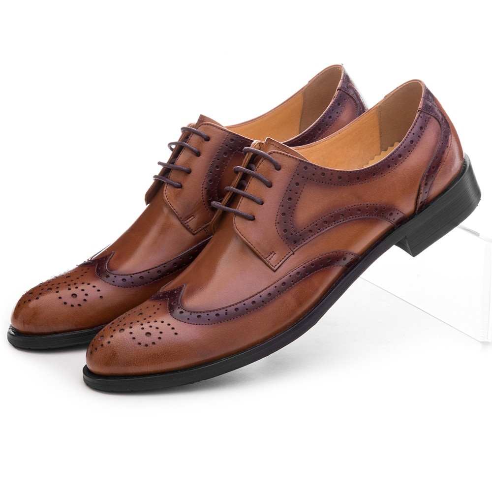 Fashion Black / Brown Prom Oxfords Mens Dress Shoes Genuine Leather Brogues Formal Wedding Groom Shoes Male Business Shoes