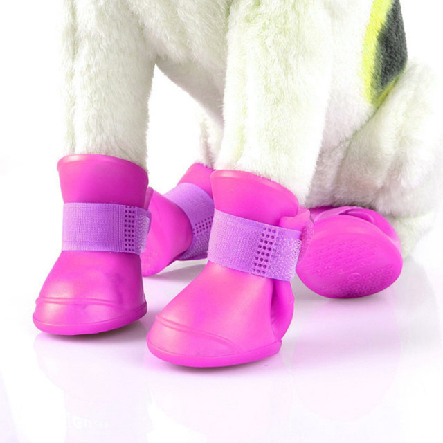 Hot 4pcs/set Dog Shoes Waterproof Rain Shoes Small Dogs Cats Breed Pet Cat Dog Socks Rubber Silicone Boots For Dogs Winter Socks