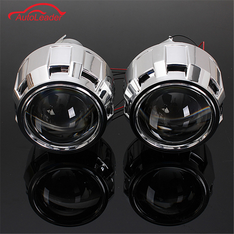 2.5Inch RHD Car Motor Mini Bi-xenon/HID Projector Lens Angle Eye Halo Lens Kit Headlight Bulb Shroud Lamp Adapter H1/H7/H4 Bulb lhd 35w 2 8 inch hid bixenon headlight headlamp projector lens full retrofit kit car angle eye halo h7 h4 ballast xenon bulb