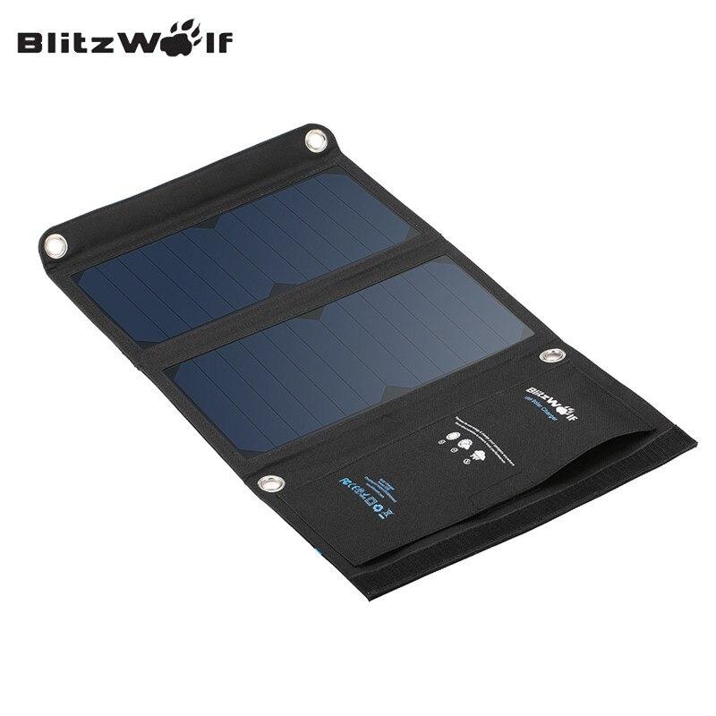 imágenes para Blitzwolf original 15 w panel de células solares de sunpower plegable portátil dual usb 2a cargador de banco de la energía para el iphone para el teléfono inteligente