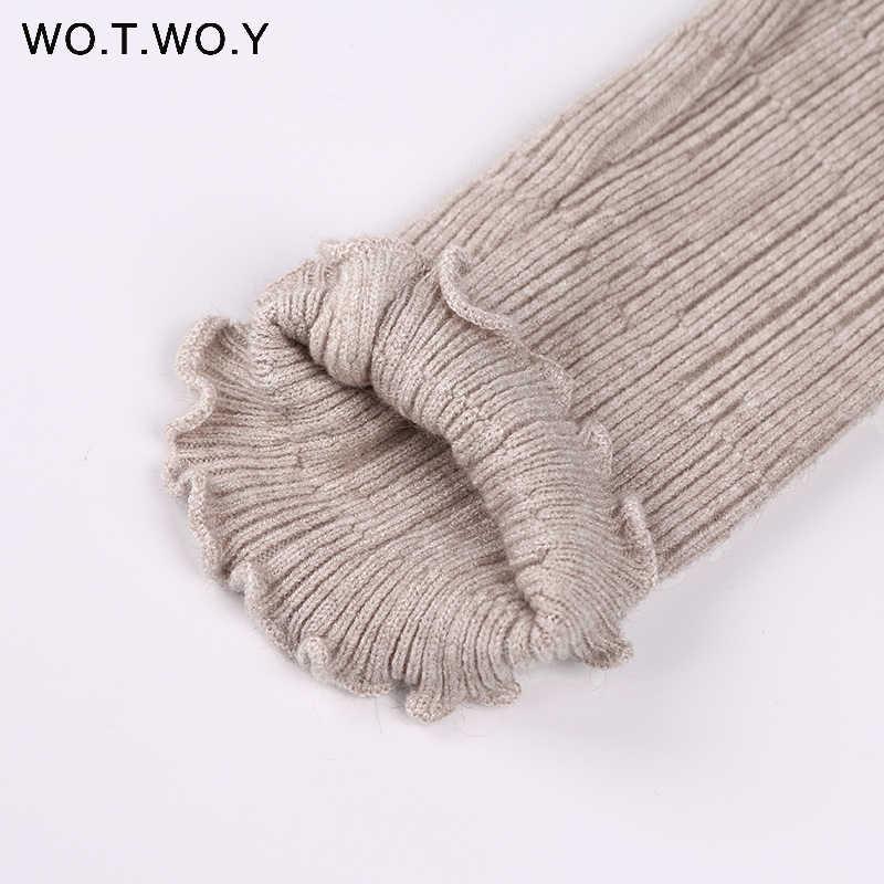 WOTWOY длинный рукав водолазка Длинные Свитера Женские однотонные базовые пуловеры облегающий трикотаж 2017 Женский свитер зимний вязаный